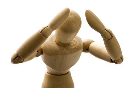 saddened: Wooden puppet suffer distress, at a loss