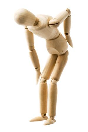 mannequin: Bois posent marionnettes isol� sur fond blanc Banque d'images