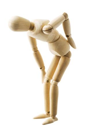 Bois posent marionnettes isol� sur fond blanc Banque d'images