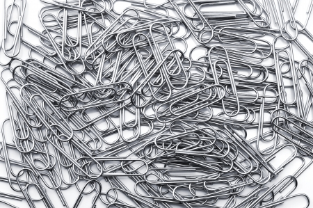 A lot of silver paper clip, close-up Stock Photo - 16330519