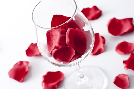 Rose petals in wine glass on white background Stock fotó