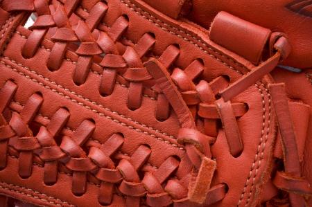 guante de beisbol: Primer plano de un guante de béisbol de material de fondo Foto de archivo