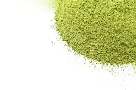 maccha: Maccha, dried powder green tea on white background
