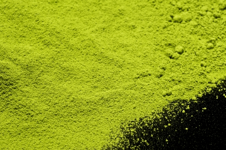 maccha: Maccha, dried powder green tea on black background