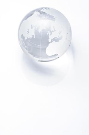 Clear glass globe on white background  Stok Fotoğraf