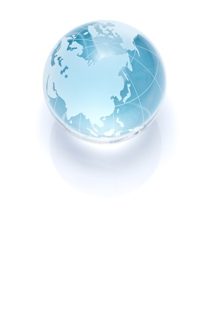 Blue glass globe isolated on white background  photo