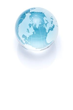Blue glass globe isolated on white background  Stok Fotoğraf