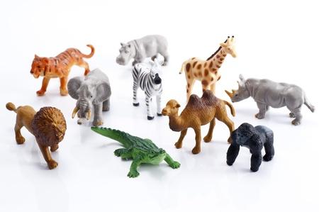 白い背景の上の動物のおもちゃの多くの種類 写真素材