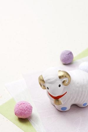 ovine: sheep figurines, japanese traditional new year decoration