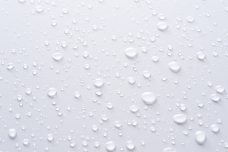 water droplets: Water drop background on gray background, close-up  Stock Photo