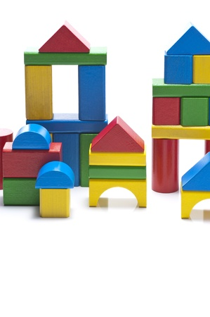 Wooden architecture made   of colorful building blocks  写真素材