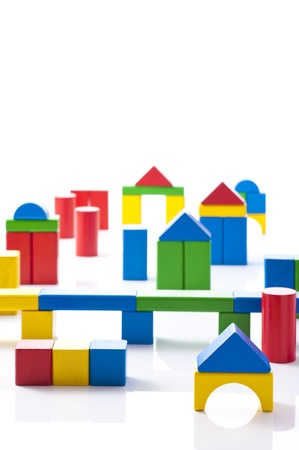 Wooden town made   8203;  8203;of colorful building blocks