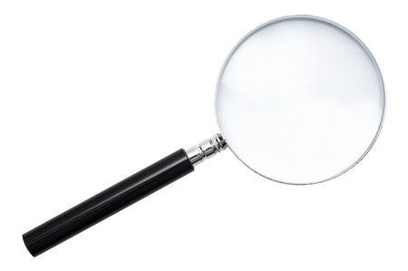 close-up of magnifying glass isolated on white background