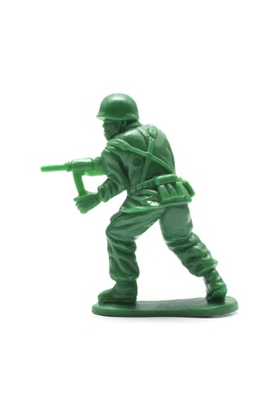 toy soldier: miniture toy soldier on white background, close-up