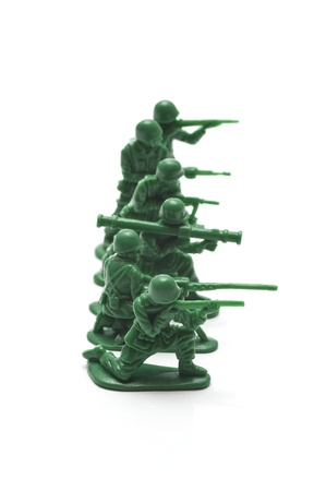 green military miniature: miniture toy soldiers to attack the enemy Stock Photo
