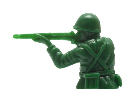 close-up of miniture toy soldier with guns