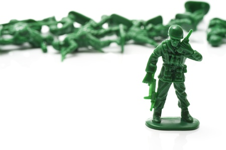 plastic soldier: miniture toy soldiers to attack the enemy Stock Photo