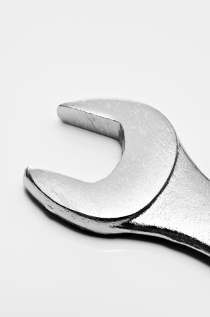 chromeplated: close-up of a chrome-plated spanner