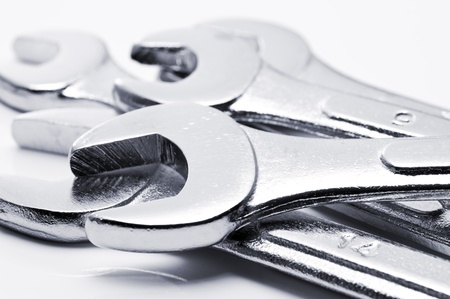 chromeplated: silver chrome-plated wrench spanner, close-up Stock Photo