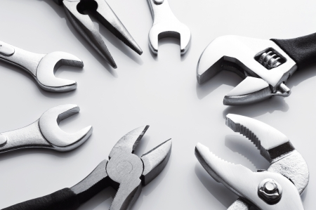 nipper: many metal tools for industrial on white background  Stock Photo