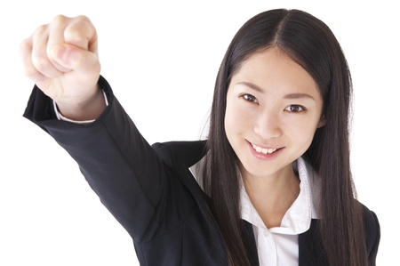gave: Businesswoman gave a fist Stock Photo