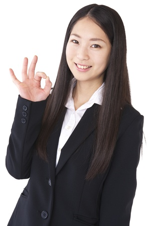 Businesswoman to the OK sign photo