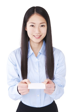 Women who present a business card Stock Photo - 17793270