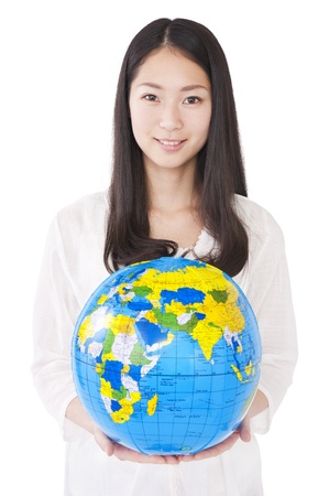 Woman with a globe Stock Photo - 17793279