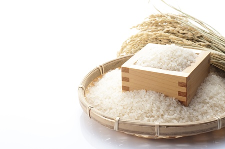 rice plant: White rice in the wooden square cup, japanese food