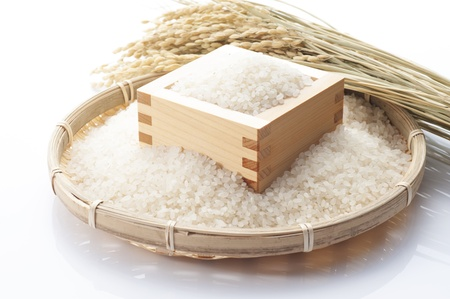 White rice in the wooden square cup, japanese food Reklamní fotografie - 19353910