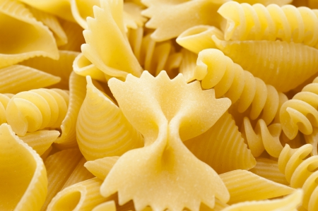 short pasta: Close-up of short pasta several kinds Stock Photo