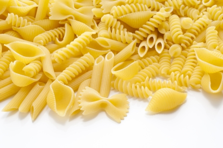 short pasta: short pasta of various on white background Stock Photo