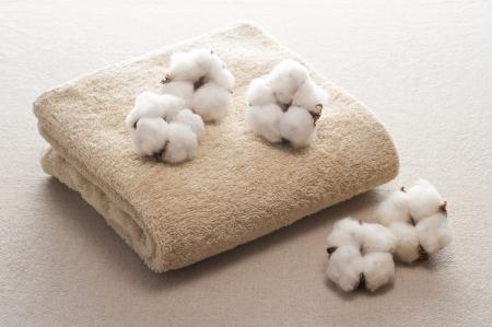 綿の花と布の背景にタオル 写真素材