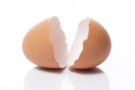 a cracked eggshell on white background