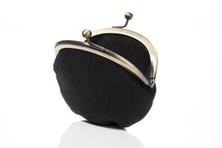 open black wallet on white background