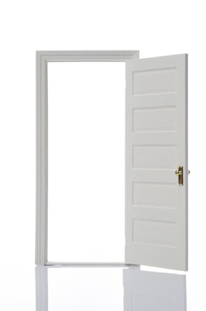 Opened door on white background photo