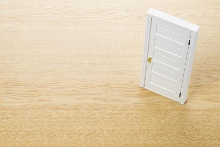 Closed door on wooden background photo