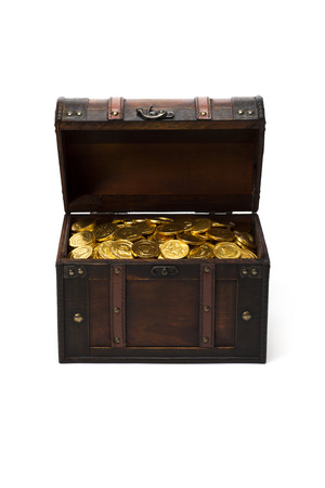 wooden treasure chest with gold coins photo