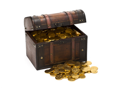 loot: wooden treasure chest with gold coins