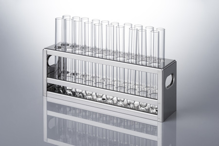 test: many test tube and the test tube rack Stock Photo