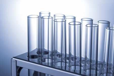 many test tube and the test tube rack Standard-Bild
