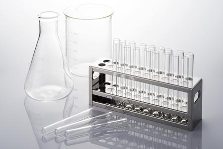 many test tube and laboratory glassware