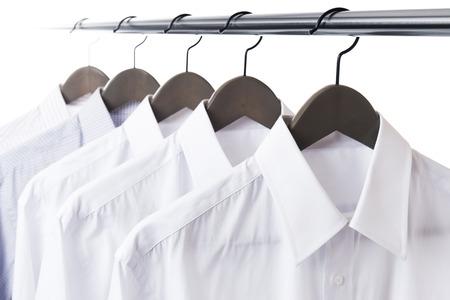 paul: shirt and hanger hang on a paul Stock Photo