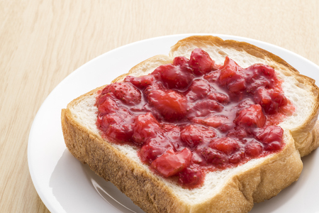 strawberry jam: Strawberry jam painted in bread