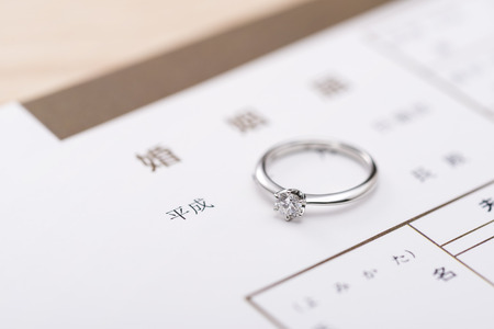 marriage documents and ring