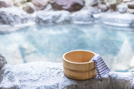 Japanese hot spring, open-air bath Imagens