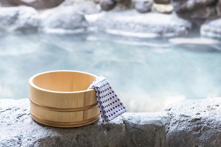 Japanese hot spring, open-air bath 写真素材