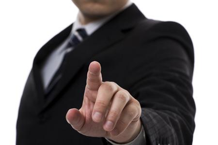 그의 손가락을 가리키는 사업가