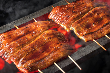 Cook the Grilled eel Stock Photo