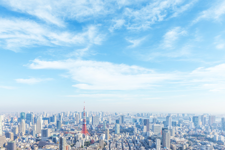 Landscape in the city of Tokyo on a sunny day  and Tokyo Tower 스톡 콘텐츠